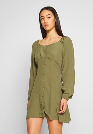 NATASHA SQUARE NECK MINI DRESS - Shirt dress - winter moss