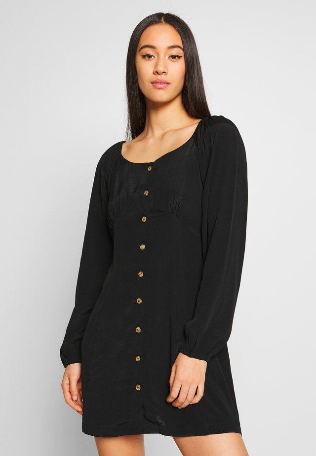 NATASHA SQUARE NECK MINI DRESS - Sukienka koszulowa - black