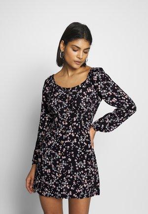 NATASHA SQUARE NECK MINI DRESS - Shirt dress - millie black