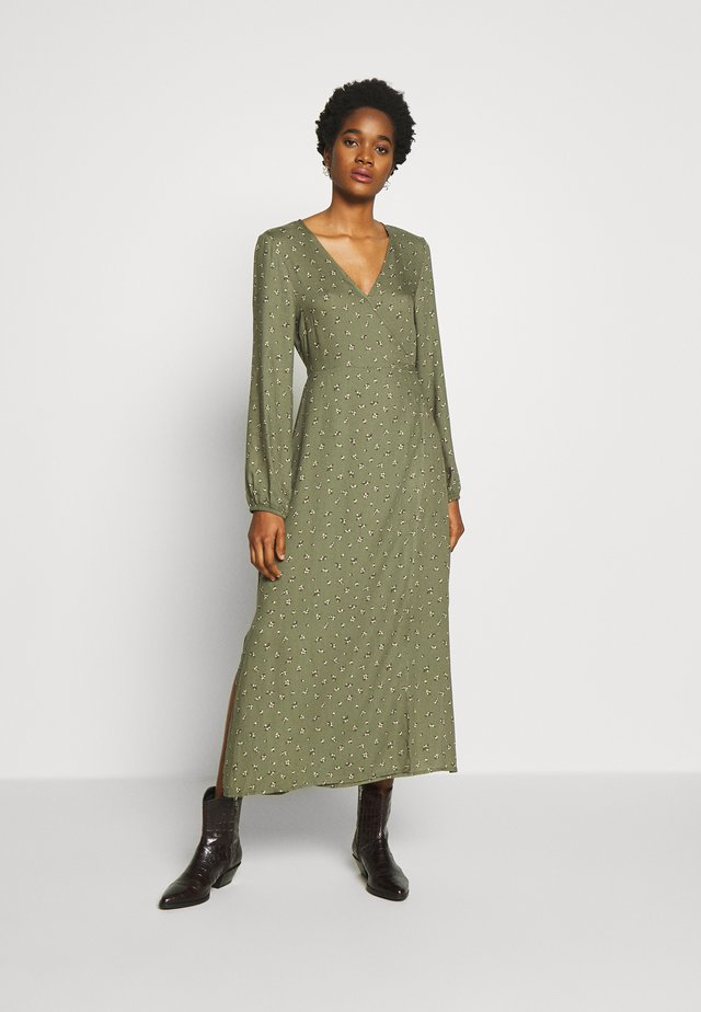 WRAP LONG SLEEVE MIDI DRESS - Day dress - green