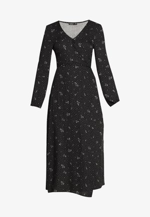 WRAP LONG SLEEVE MIDI DRESS - Denní šaty - ditsy black
