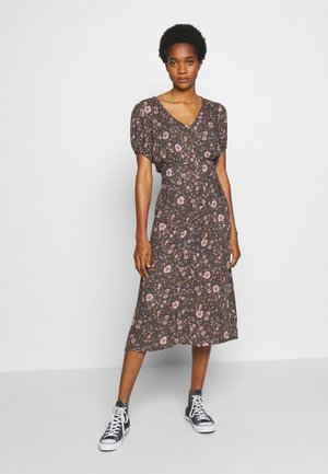 WOVEN PUFF SLEEVE MIDI DRESS - Kjole - black