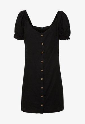 AURORA SHORT SLEEVE MINI DRESS - Vestido camisero - black