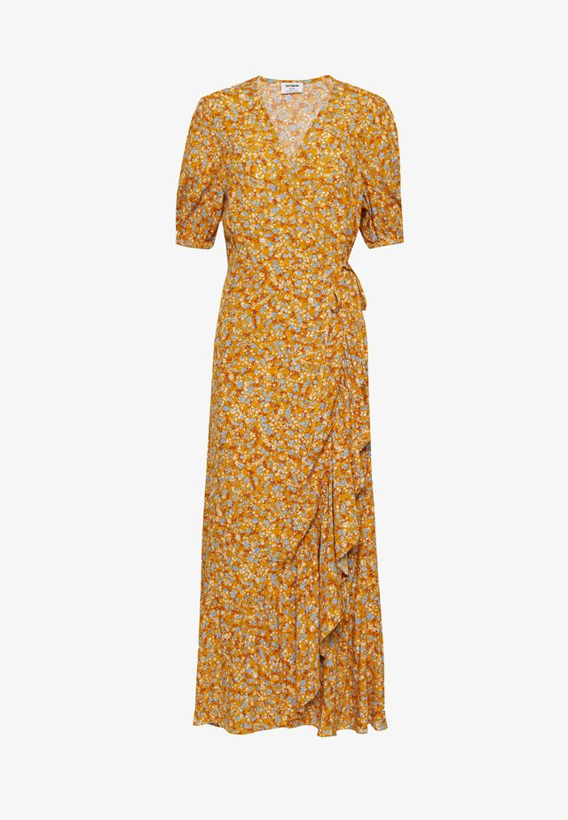 RUFFLE WRAP DRESS - Długa sukienka - yellow