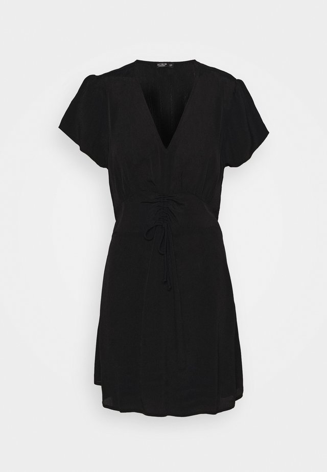 MARISSA GATHERED FRONT MINI DRESS - Korte jurk - black