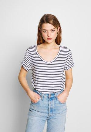 KARLY SLEEVE V NECK - T-shirt basic - essie stripe gardenia/ebony
