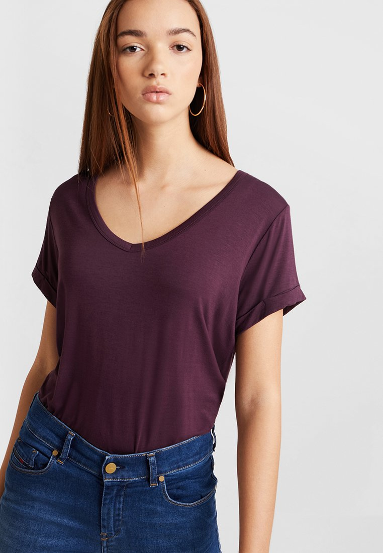 Cotton On - KARLY SLEEVE V NECK - T-shirts - winetasting
