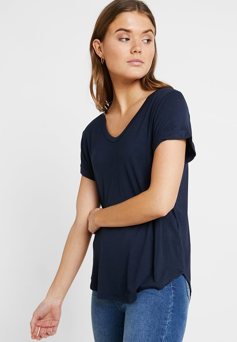 Cotton On - KARLY SLEEVE V NECK - T-shirts - moonlight