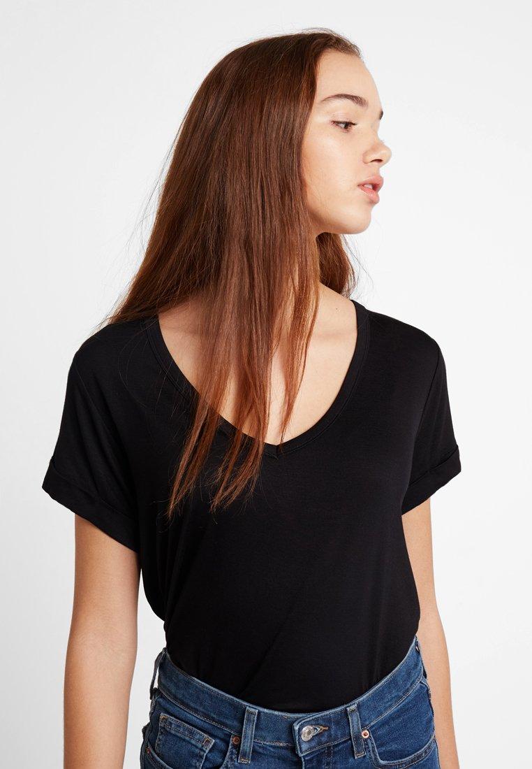 Cotton On - KARLY SLEEVE V NECK - T-shirt basic - black