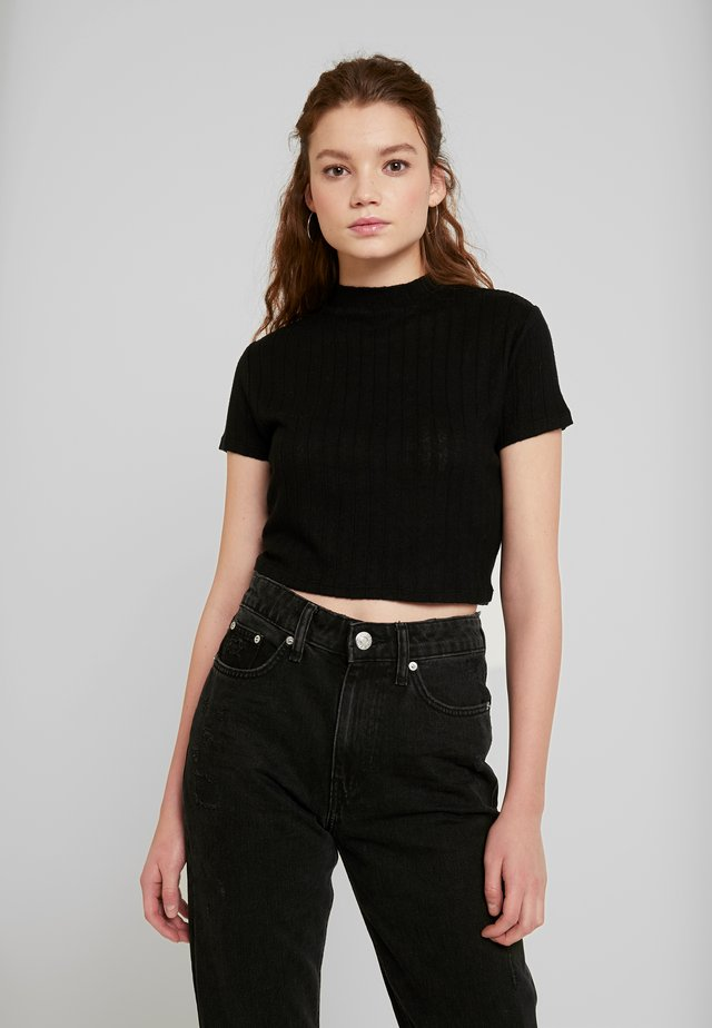 MOCK NECK TEXTURE SHORT SLEEVE - Triko s potiskem - black