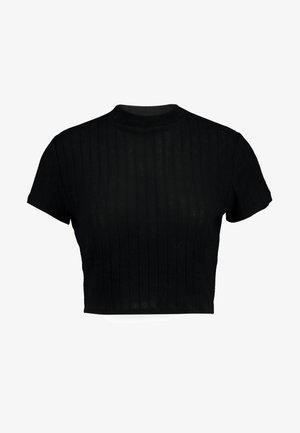 MOCK NECK TEXTURE SHORT SLEEVE - Print T-shirt - black
