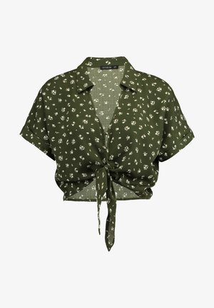 TILLY TIE FRONT CROPPED - Bluse - olive night