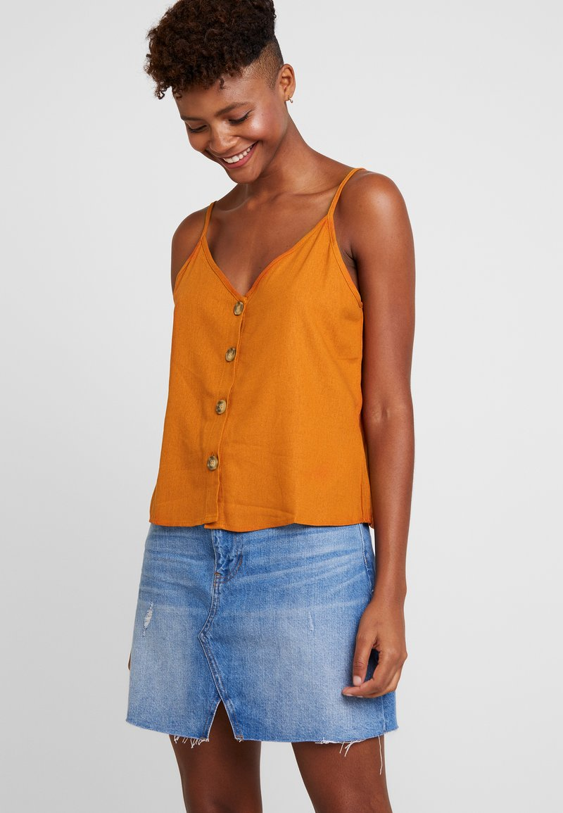 Cotton On - ALLIE BUTTON FRONT CAMI - Top - rust tan