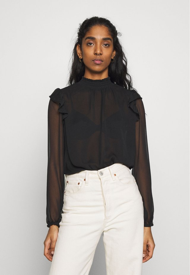 MOCK NECK BLOUSE - Bluzka - black