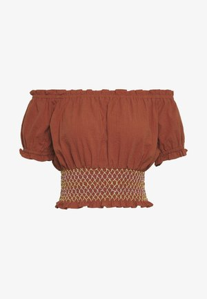 SUNSET SHIRRED OFF SHOULDER - Camicetta - dusty brown