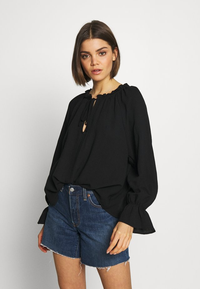 FRILL SLEEVE FASHION BLOUSE - Bluzka - black