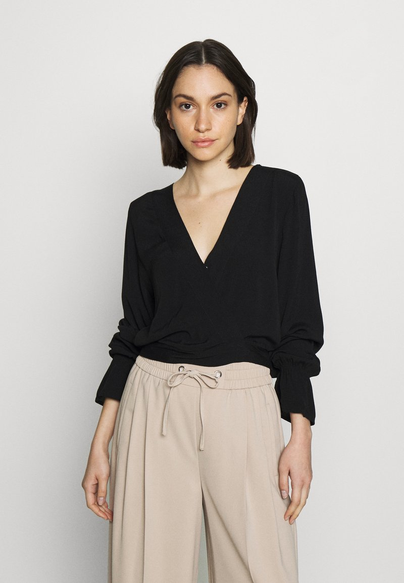 Cotton On - SPLICE WRAP BLOUSE - Bluser - black