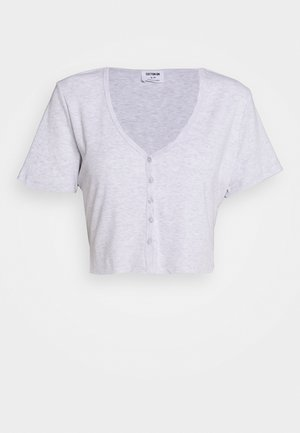 JESSIE BUTTON THROUGH HENLEY SHORT SLEEVE - Camiseta estampada - silver marle