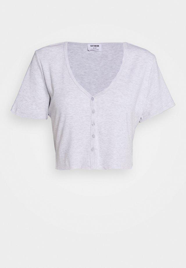 JESSIE BUTTON THROUGH HENLEY SHORT SLEEVE - Print T-shirt - silver marle