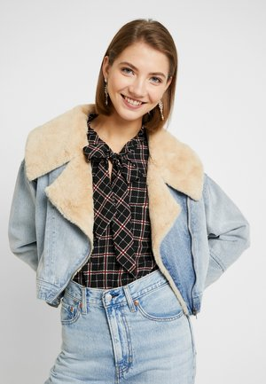 LUCY LUXE COLLAR BIKER - Spijkerjas - authentic blue