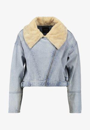 LUCY LUXE COLLAR BIKER - Džínová bunda - authentic blue