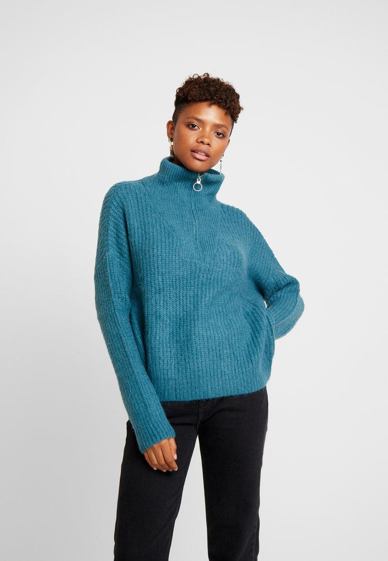 Cotton On - BILLIE ZIP NECK COSY - Sweter - petrol