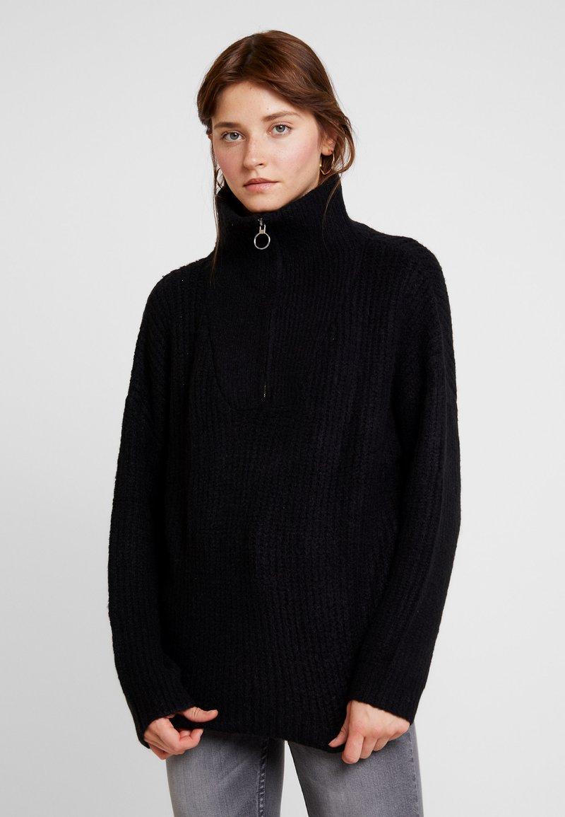 Cotton On - BILLIE ZIP NECK COSY - Jumper - black