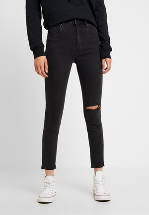 HIGH RISE CROPPED - Jeans Skinny - washed black