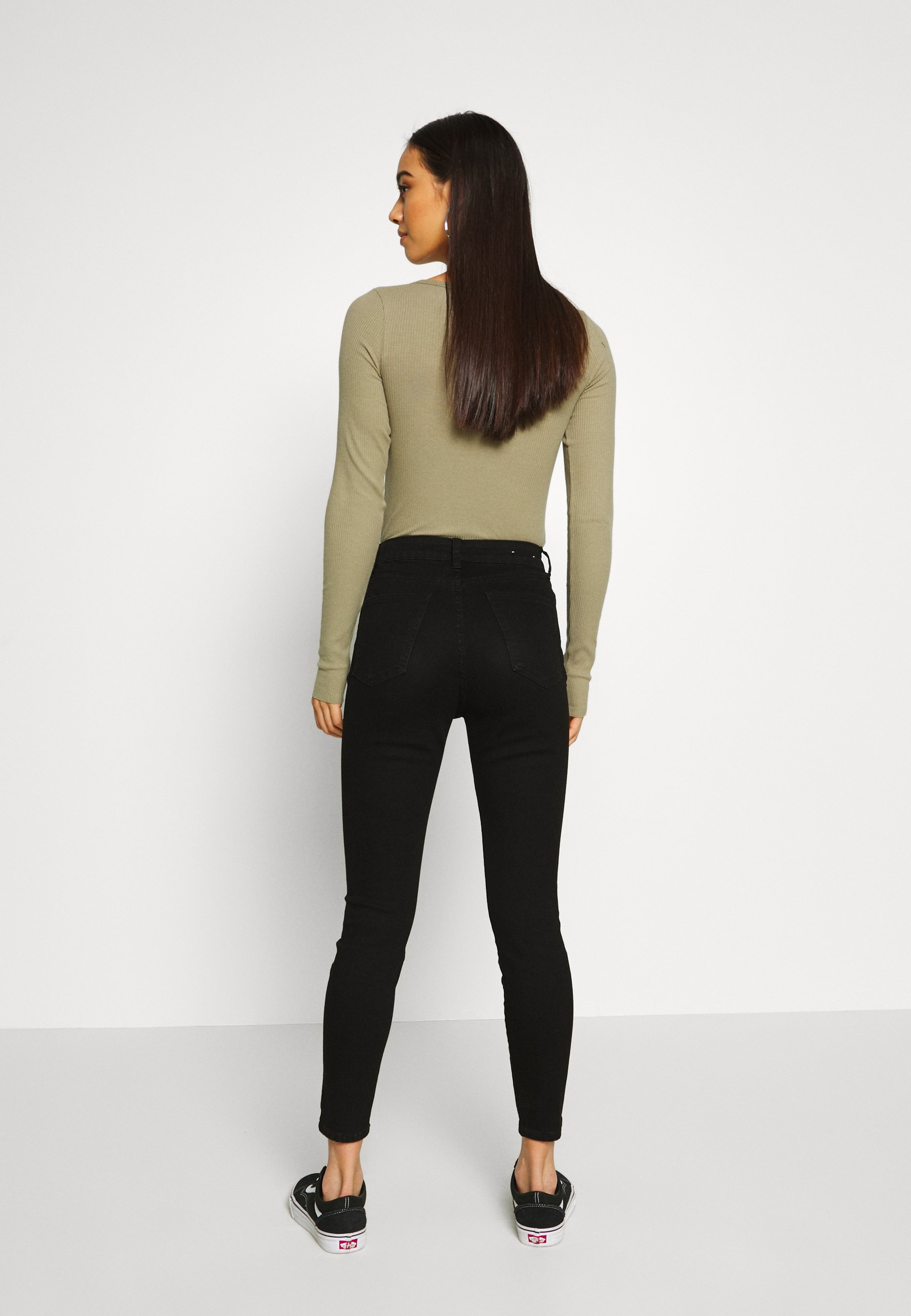 Cotton On HIGH RISE CROPPED - Jeansy Skinny Fit - black denim