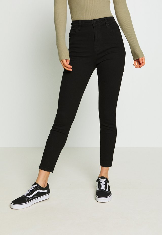 HIGH RISE CROPPED - Jeans Skinny Fit - black denim
