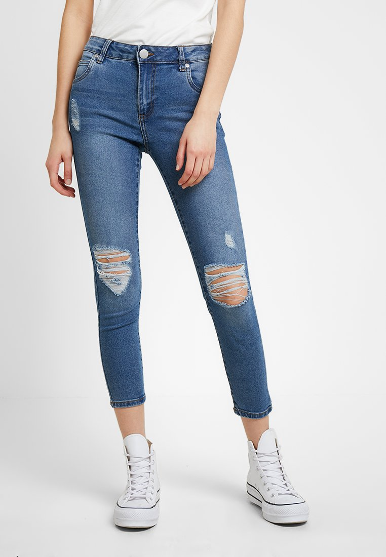 Cotton On - MID RISE GRAZER  - Jeans Skinny Fit - summer vintage blue rips