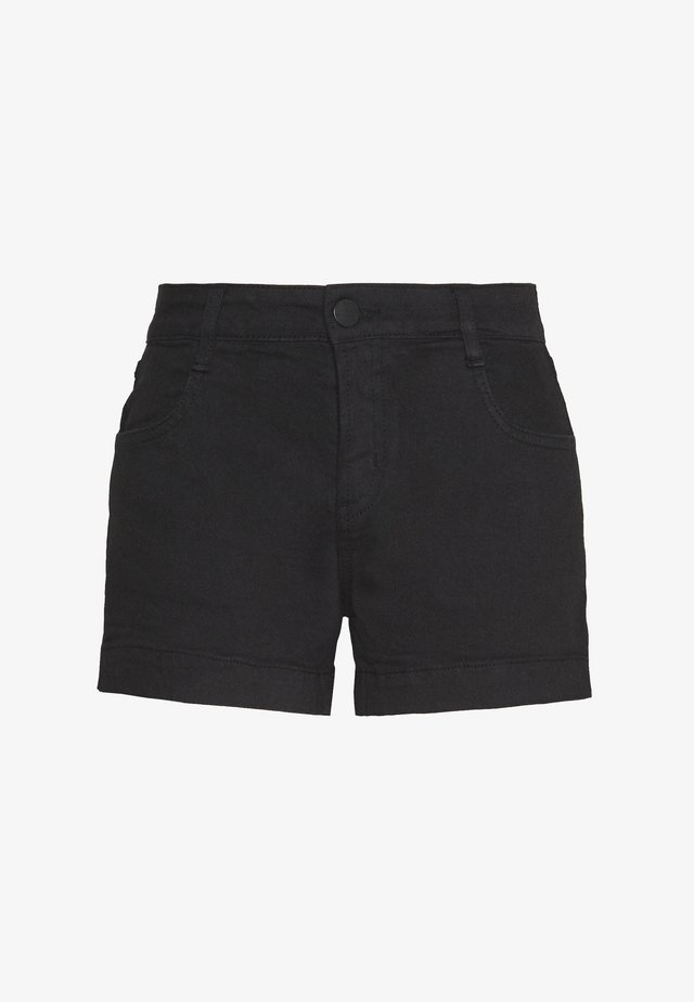 MID RISE CLASSIC STRETCH - Denim shorts - black