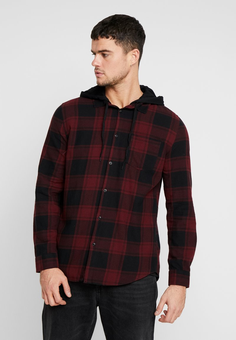 Cotton On - RUGGED HOODED SHIRT - Camisa - red/black