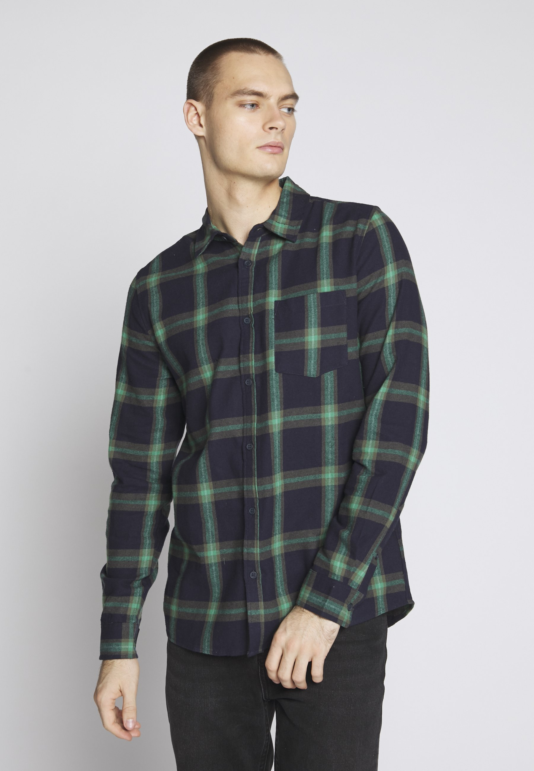 Cotton On RUGGED LONG SLEEVE - Koszula - navy/green