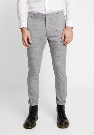 STRETCH CHECK - Trousers - grey