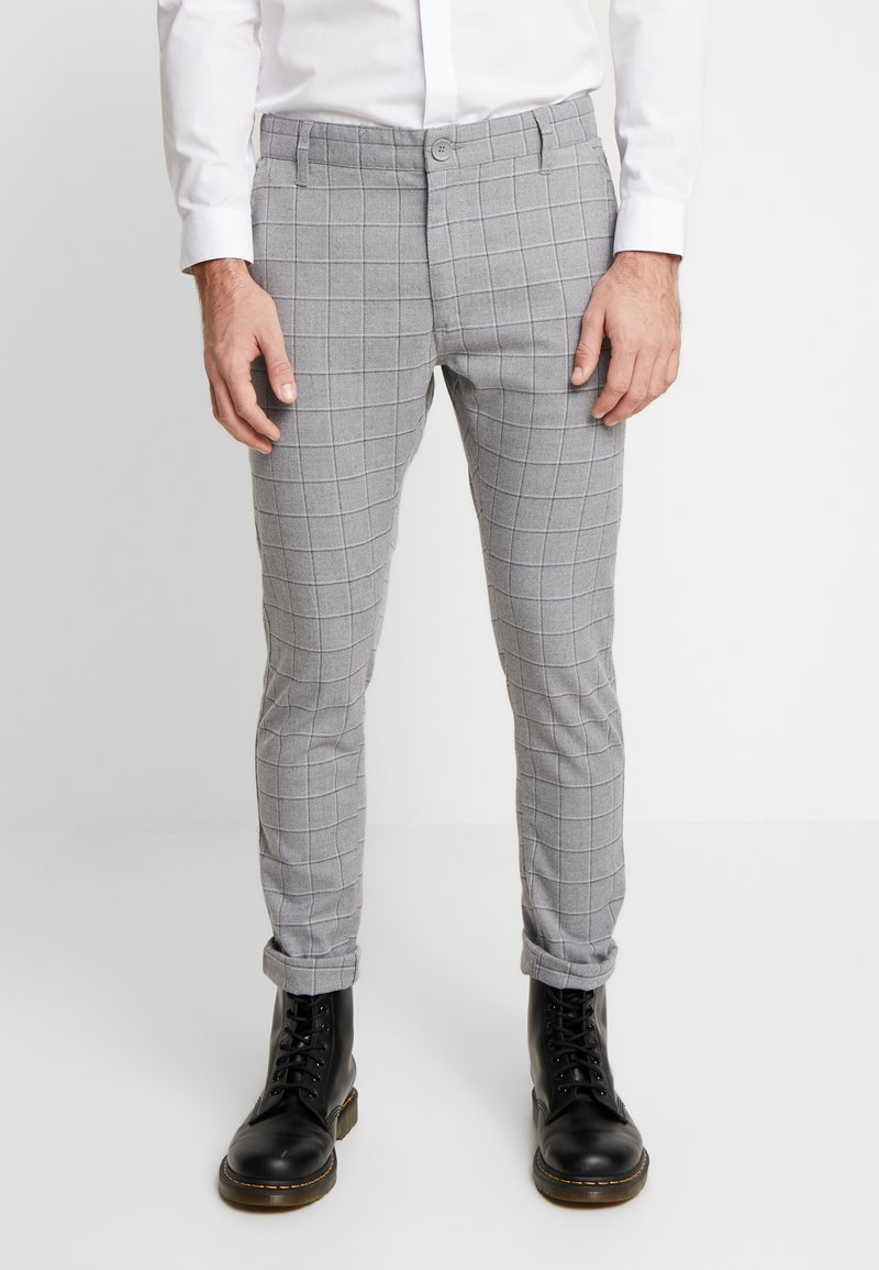Cotton On - STRETCH CHECK - Broek - grey