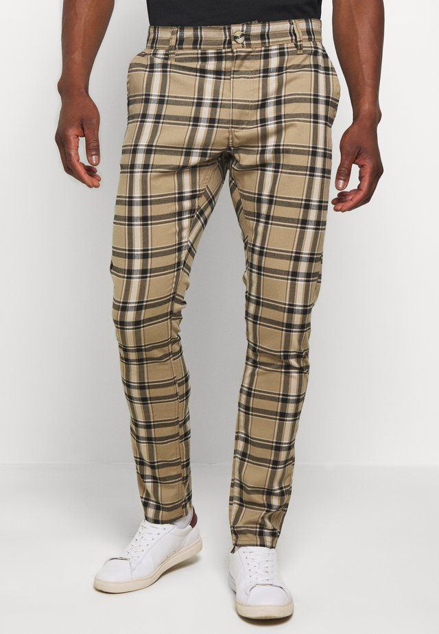 STRETCH CHECK - Trousers - butterscotch