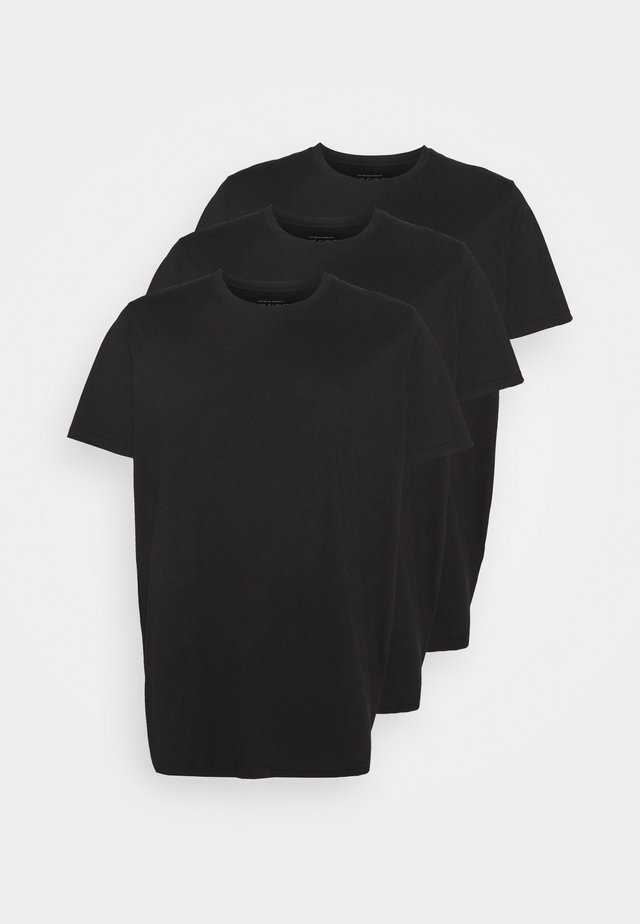 ESSENTIAL LONGLINE CURVED 3 PACK - Basic T-shirt - black