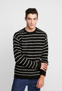 Cotton On - BOX CREW - Trui - black white stripe - 0