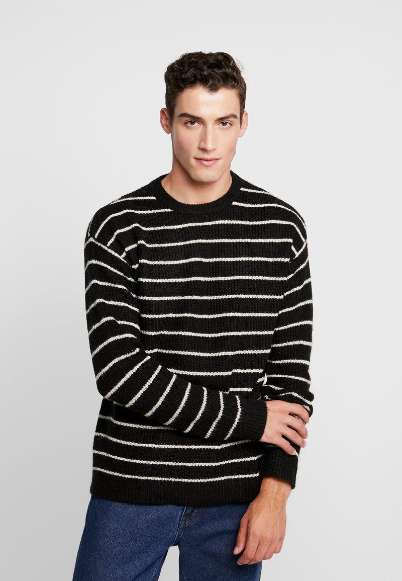 Cotton On - BOX CREW - Trui - black white stripe
