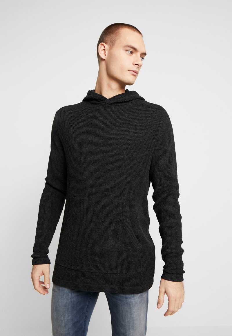 Cotton On - NU HOODED WAFFLE KNIT - Neule - black marle