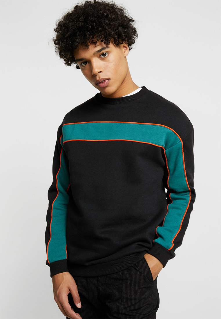 Cotton On - DROP SHOULDER CREW - Sweatshirt - BLACK/NORTH SEA