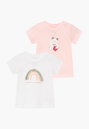 JAMIE SHORT SLEEVE TEE 2 PACK - T-shirt con stampa - white/crystal pink