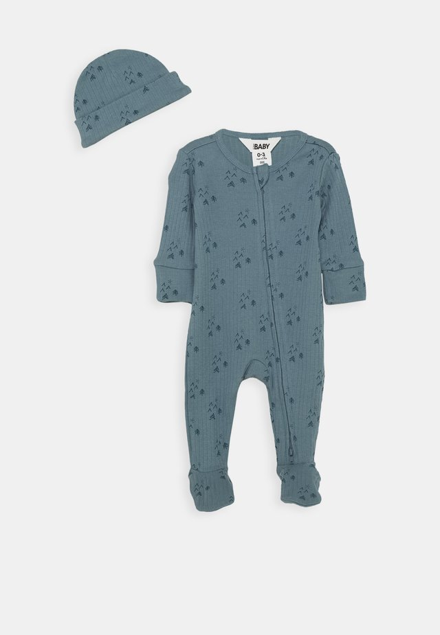BUNDLE NEWBORN ZIP ROMPER BLANKET BEANIE SET - Lue - deep pool blue/forest