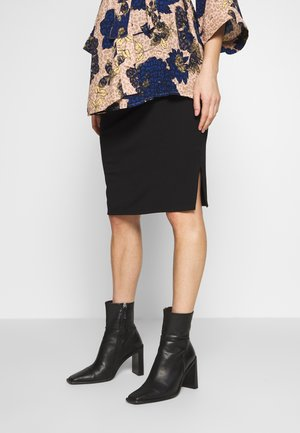MATERNITY GATHERED SIDE SPLIT SKIRT - Pencil skirt - black