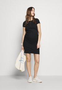 Cotton On - MATERNITY ROUCHED SHORT SLEEVE DRESS - Jersey dress - black - 1