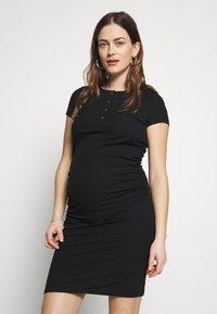 Cotton On - MATERNITY ROUCHED SHORT SLEEVE DRESS - Jersey dress - black - 0