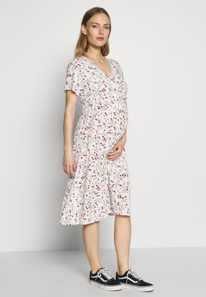 MATERNITY BUTTON FRONT MIDI DRESS - Žerzejové šaty - gardenia