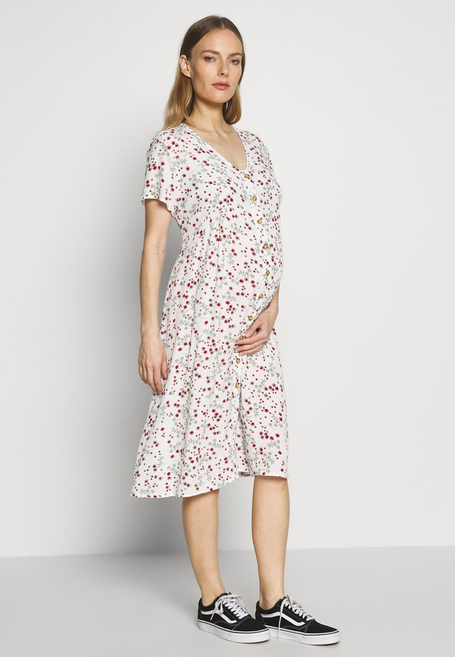 MATERNITY BUTTON FRONT MIDI DRESS - Sukienka z dżerseju - gardenia