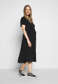 Cotton On - MATERNITY BUTTON FRONT MIDI DRESS - Jersey dress - black - 1